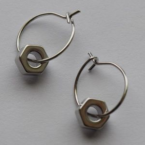Silver Hex Nut Earrings